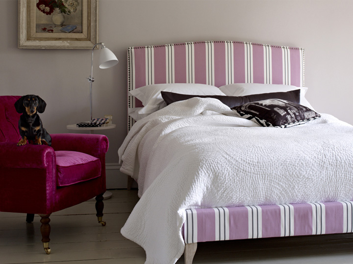 1 Brick Lane Bed in Pink Wide Stripe Fabric